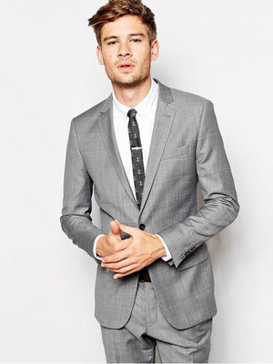 Skinny Fit Suit Jacket in Grey