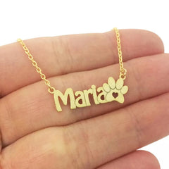 custom name necklace paw