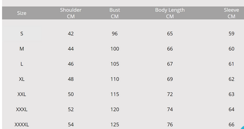 size chart pouch hoodie