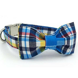 Handsomely Checkered Blue Collar , Bowtie and Leash set - Always Whiskered