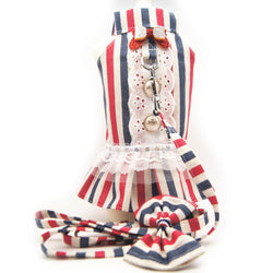 Red White and Blue Harness Dress with lead - Always Whiskered