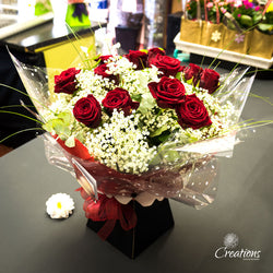 Romantic Rose Bouquet Hand Tied - Red Roses, Bouquet,- Creations Flowers