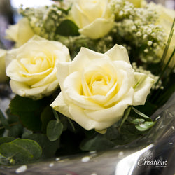 Romantic Rose Bouquet Hand Tied - White Roses, Bouquet,- Creations Flowers