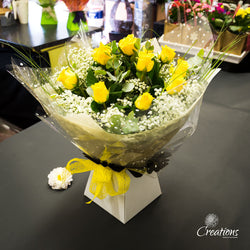 Romantic Rose Bouquet Hand Tied - Yellow Roses, Bouquet,- Creations Flowers