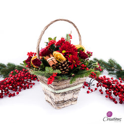 Christmas Basket Flower Arrangement, Arrangements,- Creations Flowers
