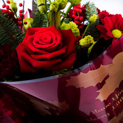Beautiful Christmas Hand Tied Bouquet, Red Roses, Bouquet,- Creations Flowers