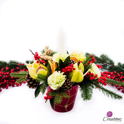 Christmas Table Centrepiece, Round, Arrangements,- Creations Flowers