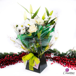 Beautiful Christmas Hand Tied Bouquet, White Flowers, Bouquet,- Creations Flowers