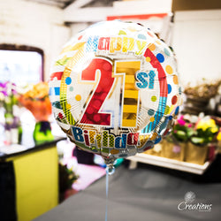 Helium Filled Birthday Age Balloons, Foil Balloons,- Creations Flowers