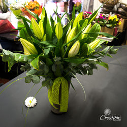 Scented White Lily Bouquet in Vase, Bouquet,- Creations Flowers