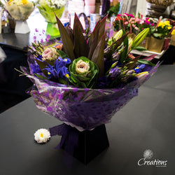 Beautiful Bouquet Hand Tied - Purple / Lilac Flowers, Bouquet,- Creations Flowers