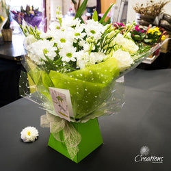 Beautiful Bouquet Hand Tied - White Flowers, Bouquet,- Creations Flowers