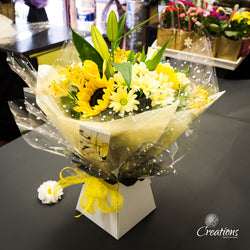 Beautiful Flower Bouquet Hand Tied - Yellows, Bouquet,- Creations Flowers