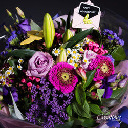 Beautiful Flower Bouquet Hand Tied - Purple / Pinks, Bouquet,- Creations Flowers