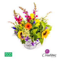 Eco-Friendly Watering Can Luxurious Flower Arrangement, Arrangements,- Creations Flowers