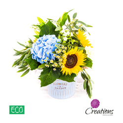 Eco-Friendly Pale Blue Decorative Container Luxury Flower Arrangement, Arrangements,- Creations Flowers