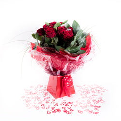 Luxury Crystal Rose Bouquet Hand Tied, Valentine's Day Roses,- Creations Flowers