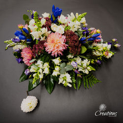 Floral Single Ended Spray Tribute, Wreaths,- Creations Flowers