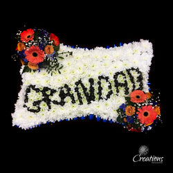 Grandad Pillow Flower Tribute, Wreaths,- Creations Flowers