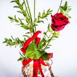 Single 'I Love You' Red Rose with Wooden Gate, Valentine's Day Roses,- Creations Flowers