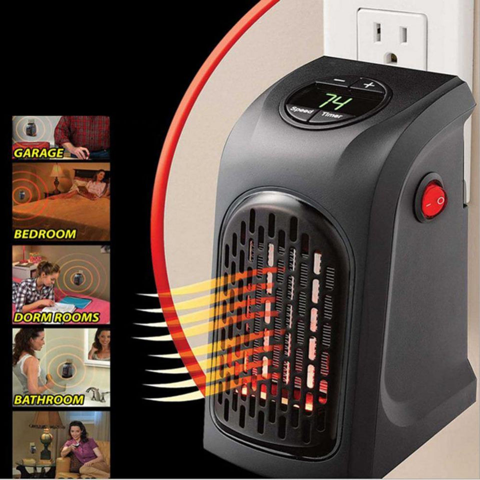 Electric Portable Heater Mini Wall-Outlet Fan Air Heater Handy Warm Air Blower