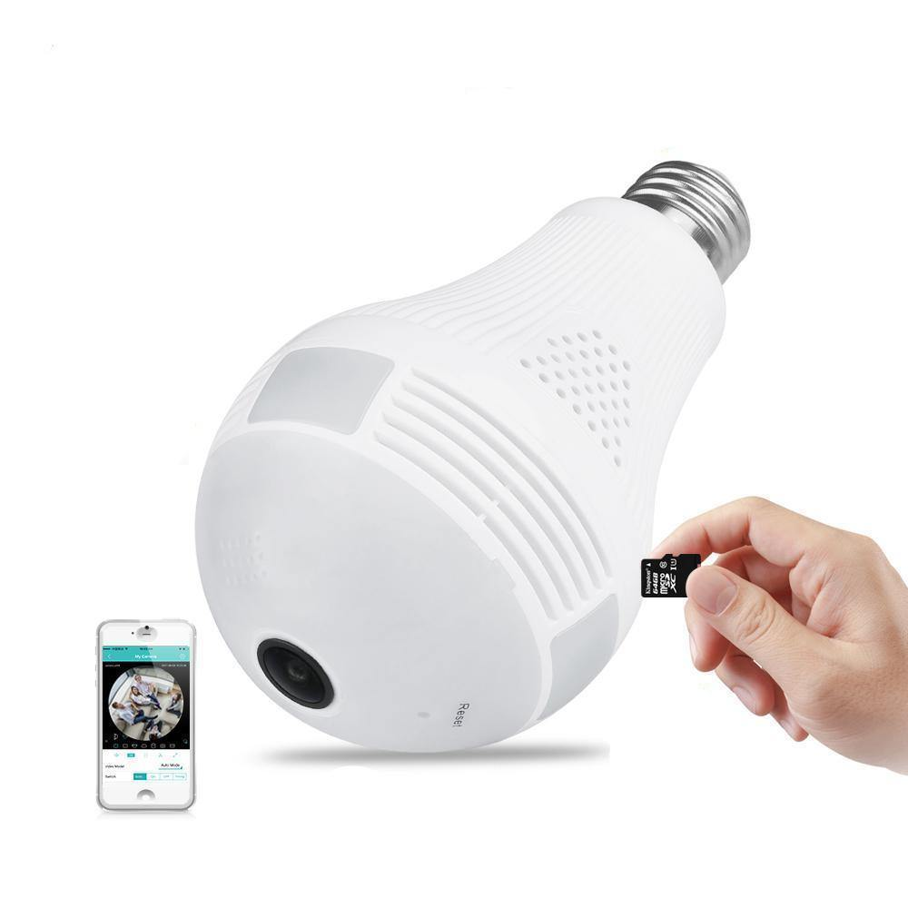 LED Light Bulb Wireless Camera - 360 Degrees Wifi IP Security Camera with 2 Way Audio Mic and Speaker