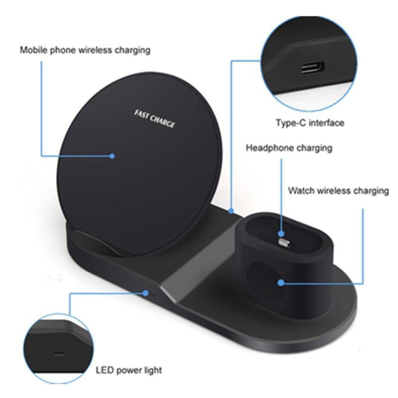 3-in-1 Fast Wireless Charger + Wireless Charging Stand for iPhone Samsung Smart Phones iWatch +Airpods Fast Charging Station