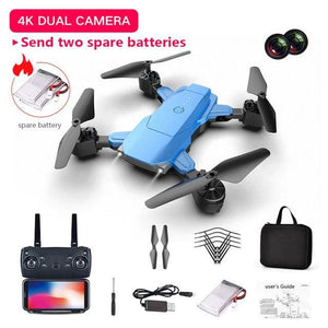New 4K HD Dual Camera Drone WIFI Follow Me Quadcopter FPV Professional Drone RC Helicopters + 2 FREE Batteries