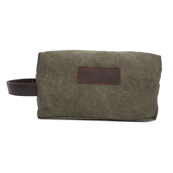 Vintage Leather Canvas Travel Toiletry Bag