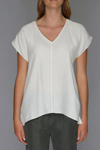white v neck top