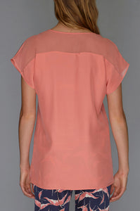 coral v neck top back