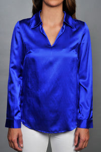 electric blue silk shirt