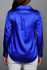 electric blue silk shirt back