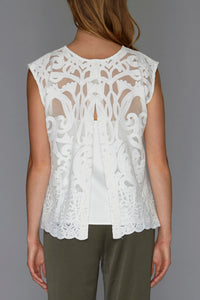 white sheer embroidered top back