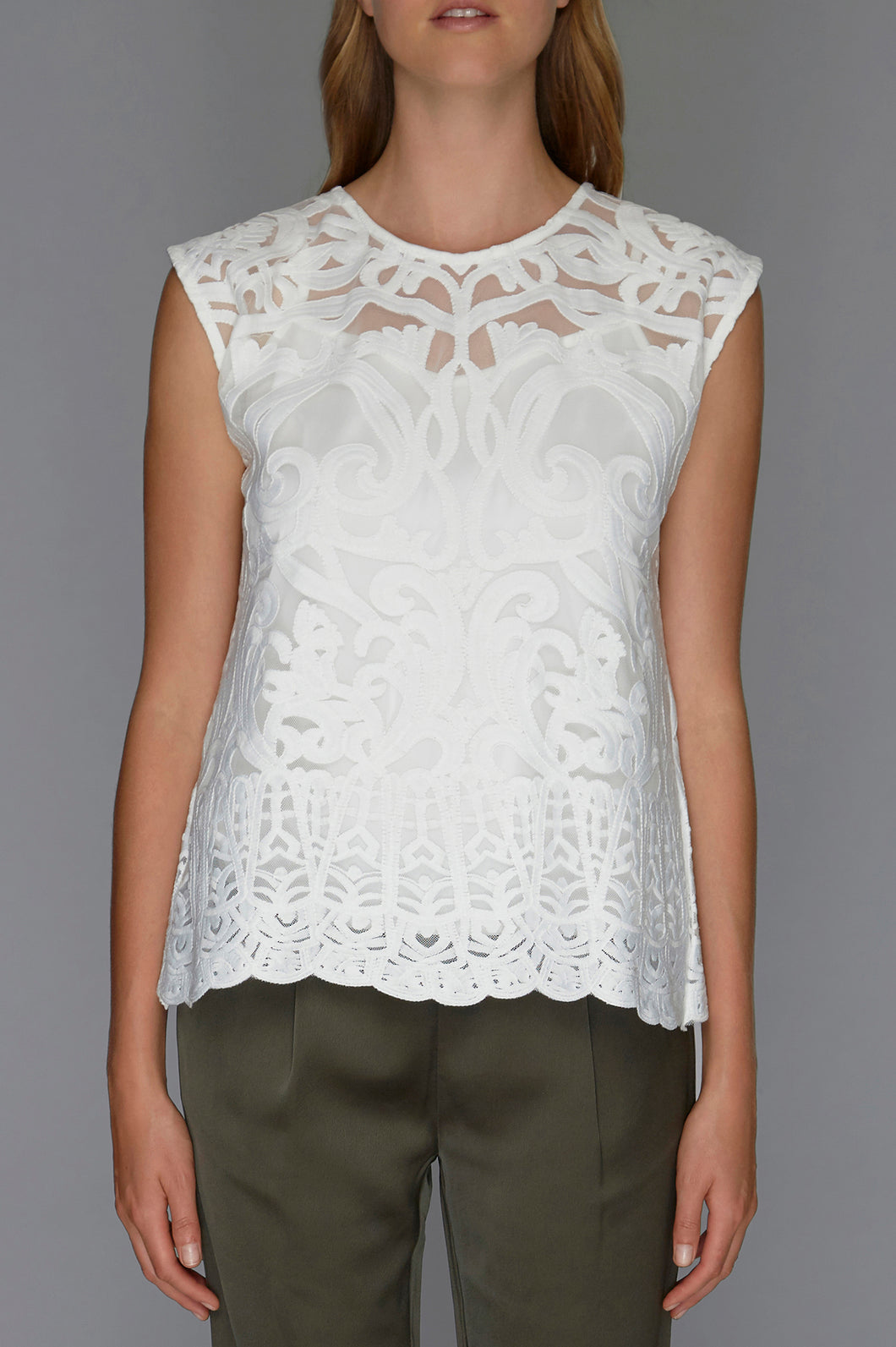 white sheer embroidered top