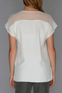 white v neck top back