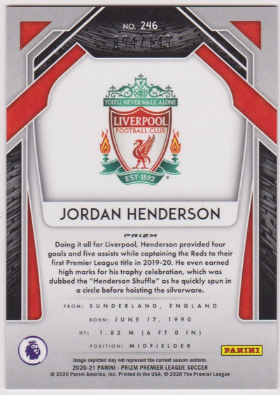 #149. RED PRIZM - 246. JORDAN HENDERSON - LIVERPOOL - CARD 94 OF 149