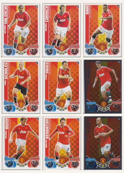 000. MANCHESTER UNITED - KOMPLETT SETT MED TOPPS MATCH ATTAX PREMIER LEAGUE 2010/11