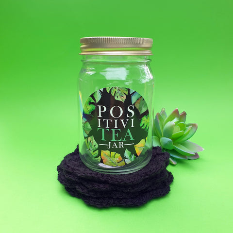 """PositiviTEA"" jar with crochet coasters - black"