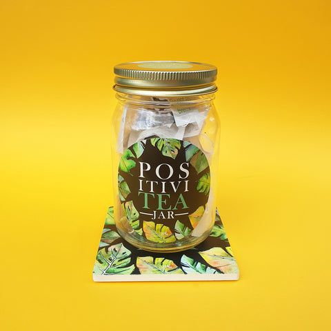 "LUCKY DIP tea filled ""PositiviTEA"" jar with ceramic coaster"