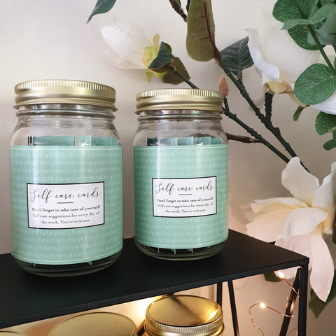 self care cards gift jar