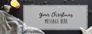 """White Christmas"" themed banner with black and silver accessories"