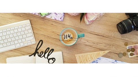 Wooden desk hello stock banner