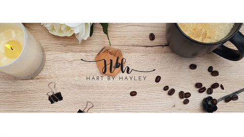 Wooden desk banner with neutral stationery