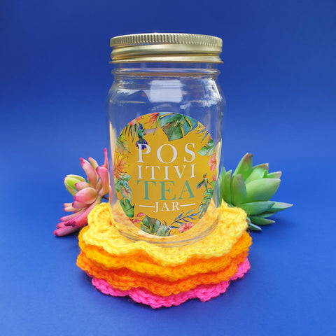 """PositiviTEA"" jar with crochet coasters - yellow sunset"