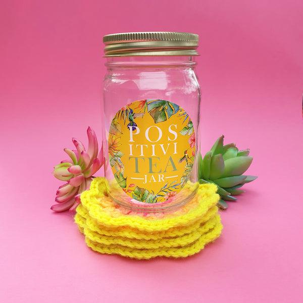 """PositiviTEA"" jar with crochet coasters - yellow sunrise"