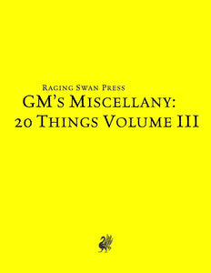 GM's Miscellany: 20 Things Vol. III (SNE)