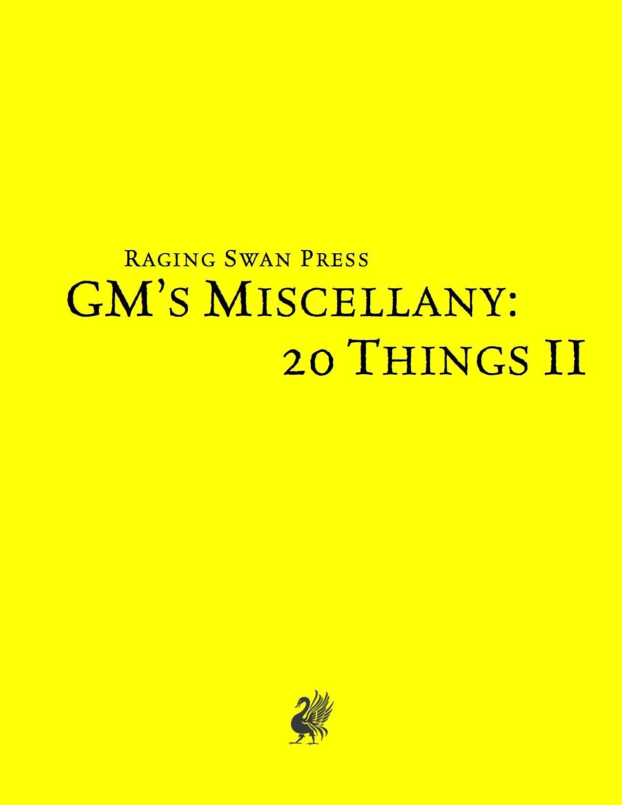 GM's Miscellany: 20 Things Vol. II (SNE)