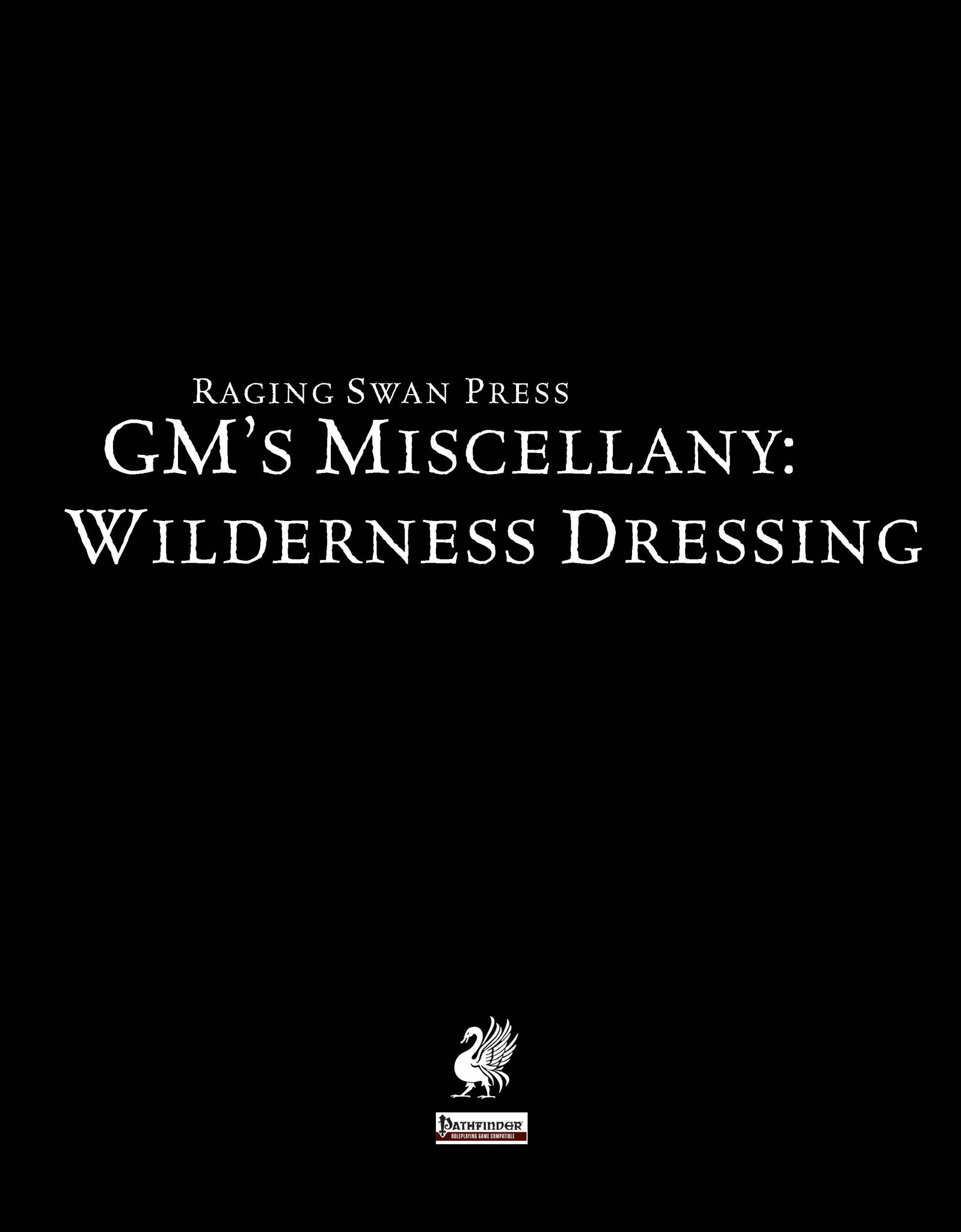 GM's Miscellany: Wilderness Dressing