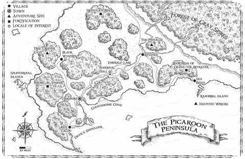 The Picaroon Peninsula Poster Map